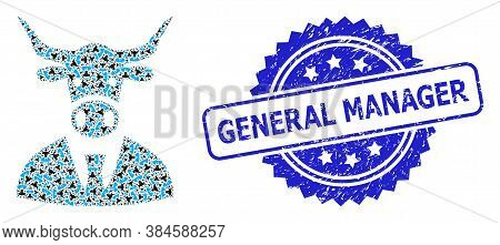 General Manager Unclean Stamp And Vector Recursion Mosaic Cow Boss. Blue Stamp Seal Has General Mana