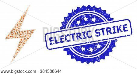 Electric Strike Textured Stamp And Vector Recursion Collage Electric Strike. Blue Stamp Seal Contain