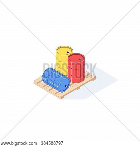 Isometric Wooden Pallet With Barrels. 3d Pallets Cargo Goods Fuel Benzin Petrol Gas And Combustible