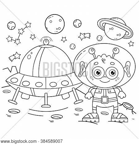Coloring Page Outline Of A Cartoon Alien With A Flying Saucer On A Planet In Space. Coloring Book Fo
