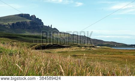 Panorama With Landscape Of Old Man Of Storr In Isle Of Skye, Scotland, Uk