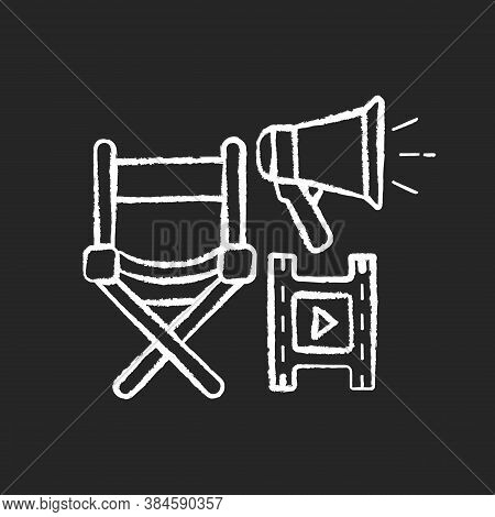 Film Director Chalk White Icon On Black Background. Hollywood Producer. Cinema Production Executive