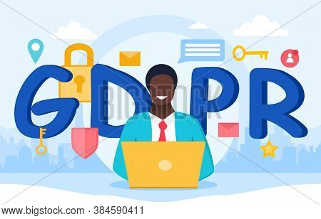 Gdpr Or General Data Protection Regulation. Data Protection Concept. Flat Vector Illustration