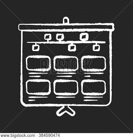Storyboard Chalk White Icon On Black Background. Animation Professional Production Step. Visual Deve