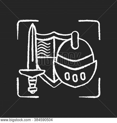Movie Props Chalk White Icon On Black Background. Film Production Items. Foam Weapon For Historical