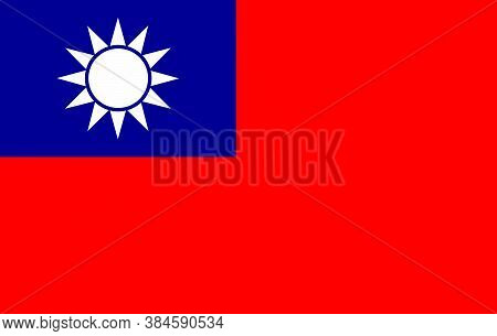 Original And Simple Taiwan Republic Of China Flag Isolated Vector In Official Colors And Proportion