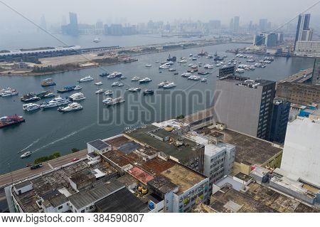 Kwun Tong, Hong Kong 27 February 2019: Top view of Hong Kong city
