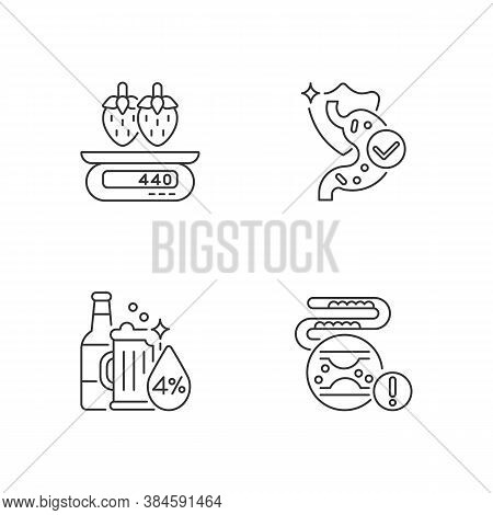 Foodstuff Linear Icons Set. Cholesterol In Blood Disease. Serving Information. Strawberry On Scales.