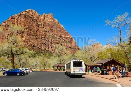 Utah, Usa - April 7,2019: Visitor Center In Zion National Park Located In The Usa In Southwestern Ut