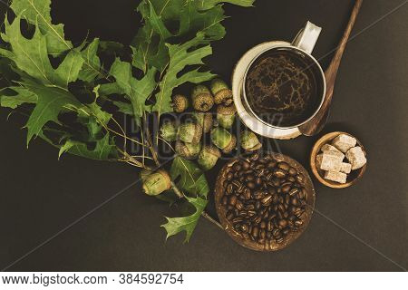 Oak Tree Acorns Coffee Background With Visible Oak Tree Acorns, Coffee Beans, Oak Leaves, Brown Suga