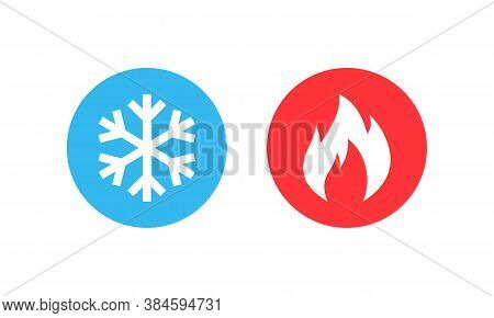 Hot And Cold Vector Icon Set. Heating And Cooling Buttons. Vector Eps10