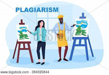Concept Of Plagiarism. Flat Colored Vector Illustration