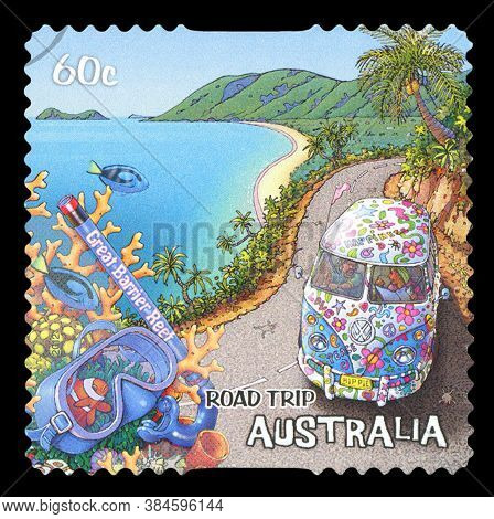 Australia - Circa 2013: A Stamp Printed In Australia Dedicated To The Road Trip, Shows Gold Coast, Q