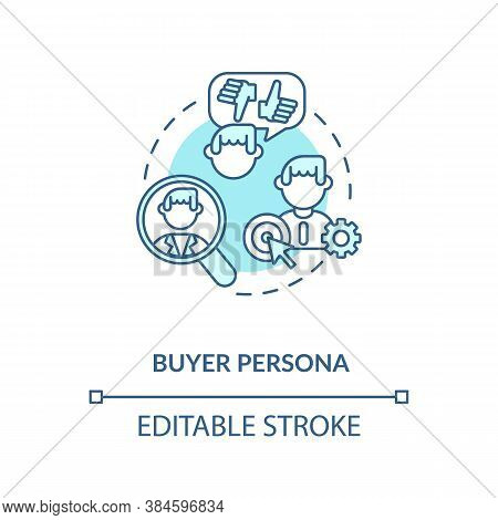 Buyer Persona Concept Icon. Social Network Audience. Target Customer Idea Thin Line Illustration. Cu