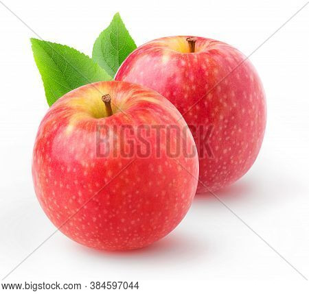 Isolated Red Apples. Two Whole Pink Lady Apples Isolated On White Background