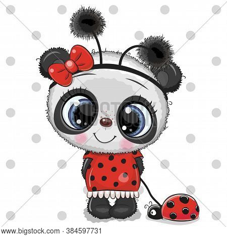Cartoon Cute Panda Bear Girl In A Ladybug Costume And Ladybug