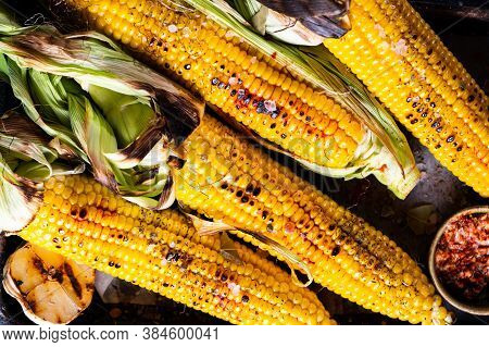 Grilled Corn On The Cob With Salt, Paprika And Butter. Organic Food, Vegetarian Meal. Barbecue, Bbq.