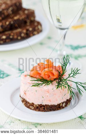Mousse Of Smoked Salmon (trout), Cottage Cheese (ricotta) And Herbs Dill With Lemon And Capers On Ry