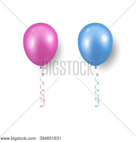 Vector 3d Realistic Pink, Blue Balloon With Ribbon Set Closeup Isolated. Design Template Of Transluc