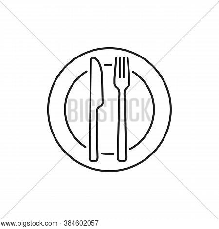 Fork Knife And Plate Icon. Line Dinner Cutlery Vector Logo For Restaurant Symbol Isolated On White B