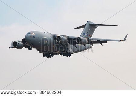 Fairford / United Kingdom - July 12, 2018: Nato Heavy Airlift Wing Haw (sac) Boeing C-17a Globemaste