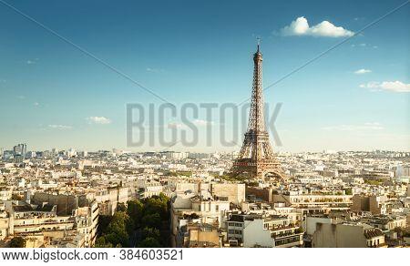 Skyline of Paris with Eiffel Tower, France