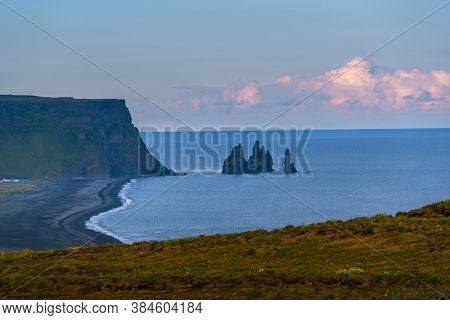 Troll Toes on Black beach Reynisfjara near the village of Vik, Iceland