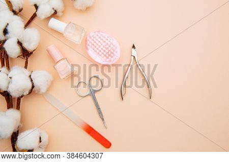 Beauty Care Concept. A Set Of Professional Tools For Manicure Top View