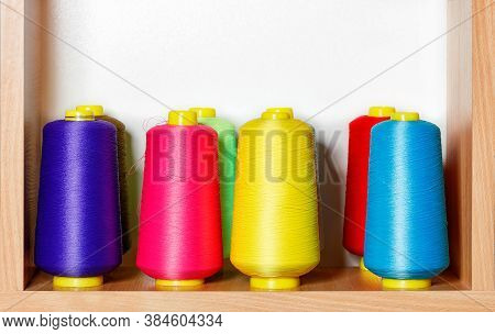 Bobbins Of Colorful, Fine, Multi-colored Silk Threads For Embroidery And For Professional Embroidery