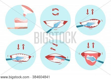 Collection Of Clean Teeths Images. Dental Toothbrush. Use Hygiene Toothbrush For Teeth. Oral Health