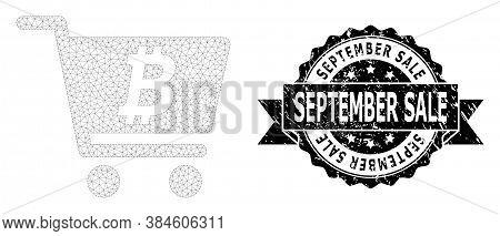 September Sale Unclean Watermark And Vector Bitcoin Webshop Mesh Model. Black Stamp Seal Has Septemb