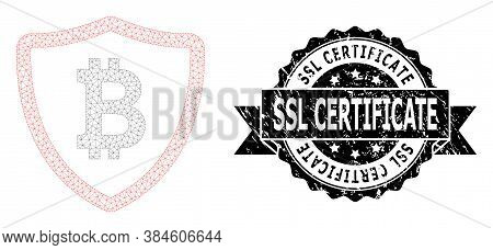 Ssl Certificate Textured Stamp Seal And Vector Bitcoin Shield Mesh Model. Black Stamp Seal Includes
