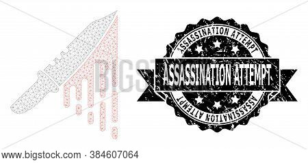 Assassination Attempt Scratched Stamp Seal And Vector Blood Knife Mesh Model. Black Seal Includes As