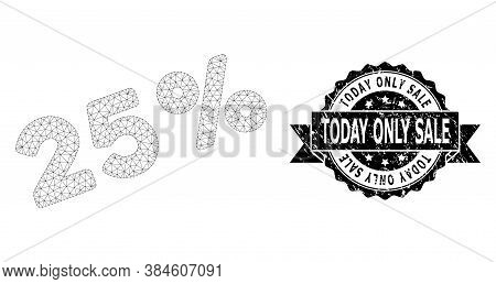 Today Only Sale Dirty Stamp And Vector 25 Percents Mesh Model. Black Stamp Seal Has Today Only Sale
