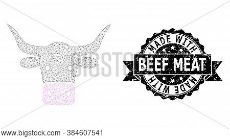 Made With Beef Meat Scratched Seal And Vector Beef Head Mesh Model. Black Stamp Has Made With Beef M