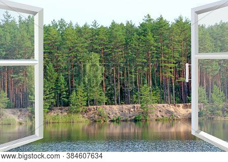 Opened Window In Room With Panoramic View To Forest Lake. Landscape With Lake In Forest. Panoramic V