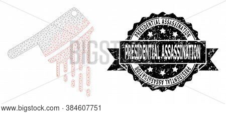 Presidential Assassination Unclean Stamp Seal And Vector Blood Butchery Knife Mesh Model. Black Stam