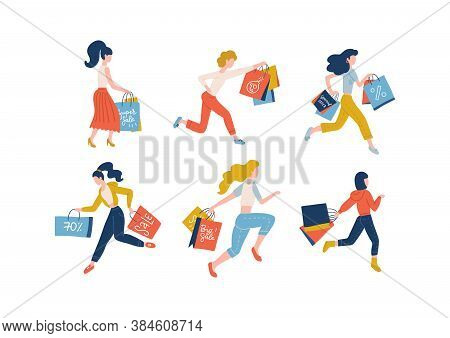 Collection Of Women Carrying Shopping Bags Taking Part In Seasonal Sale. Set Of Shopper Girls Addict