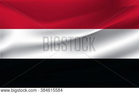 Realistic Waving Flag Of Yemen. Current National Flag Of Republic Of Yemen. Illustration Of Lying Wa