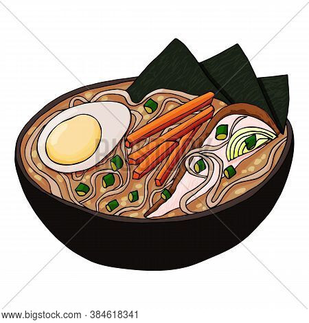 Japanese Ramen Soup Vector. Tradition Asian Meal With Chicken, Eggs, Carrots, Onions And Noodles In