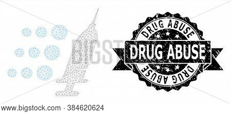 Drug Abuse Scratched Seal Imitation And Vector Fast Vaccine Mesh Structure. Black Stamp Seal Has Dru