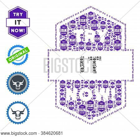 Vector Try It Now Stamp Composition Is Constructed From Scattered Self Try It Now Stamp Elements. Re