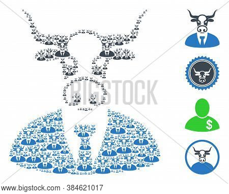 Vector Cow Boss Composition Is Made Of Randomized Self Cow Boss Pictograms. Recursion Composition Of