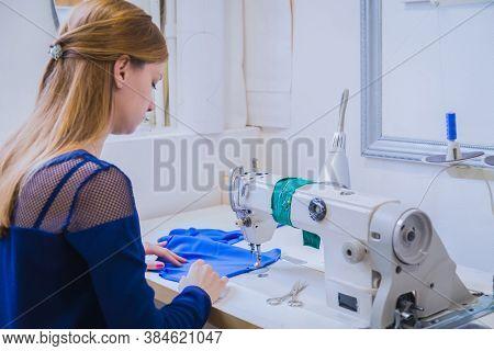 Professional Tailor, Fashion Designer Working At Sewing Studio, Atelier. Needlework, Tailoring, Hobb