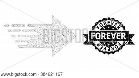 Forever Scratched Watermark And Vector Right Arrow Mesh Structure. Black Stamp Includes Forever Tag