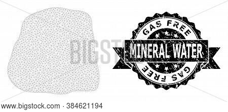 Gas Free Mineral Water Textured Stamp And Vector Stone Mesh Model. Black Stamp Includes Gas Free Min