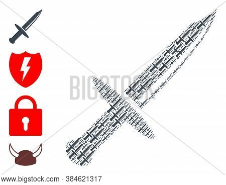 Vector Knife Blade Composition Is Done With Repeating Recursive Knife Blade Icons. Recursive Composi