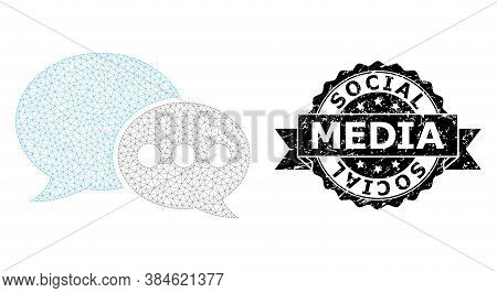 Social Media Grunge Stamp And Vector Forum Messages Mesh Structure. Black Stamp Seal Contains Social