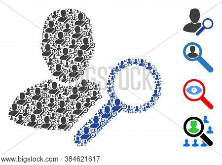 Vector Find User Mosaic Is Created Of Repeating Recursive Find User Icons. Recursive Combination Of