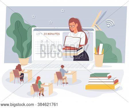 Woman Teacher, Schoolchildren Studying At Virtual Classroom. Mathematics Lesson For School Children